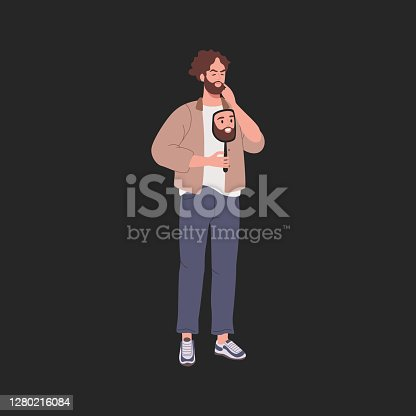 istock Sad guy took off his cheerful mask 1280216084