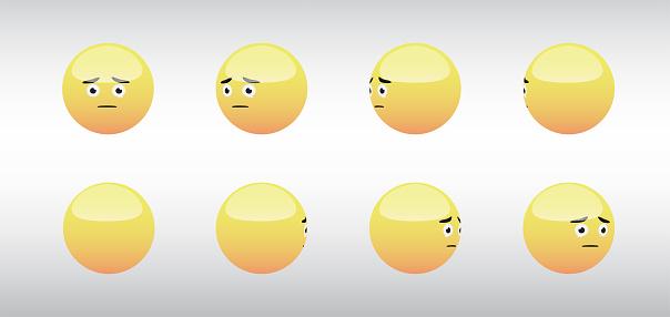 3D Sad Head Emoticon Spinning Social Media Icons Vector