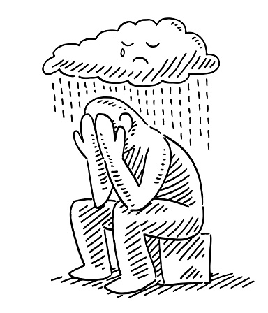 Sad Human Figure Sitting Under Rain Cloud Drawing