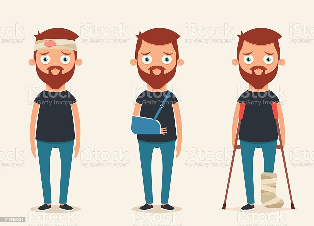 Sad Injured People vector art illustration