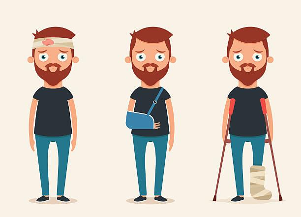Sad Injured People vector art illustration