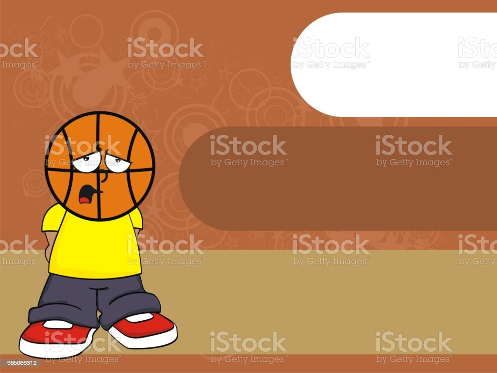 sad kid basketball head cartoon background royalty-free sad kid basketball head cartoon background stock vector art & more images of basketball - sport
