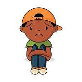 Sad kid, vector illustration