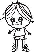 Sad kid with weeping eyes