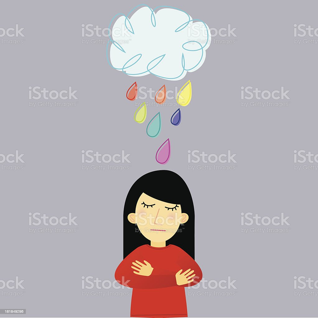 Sad Lady Under Raining Cloud vector art illustration