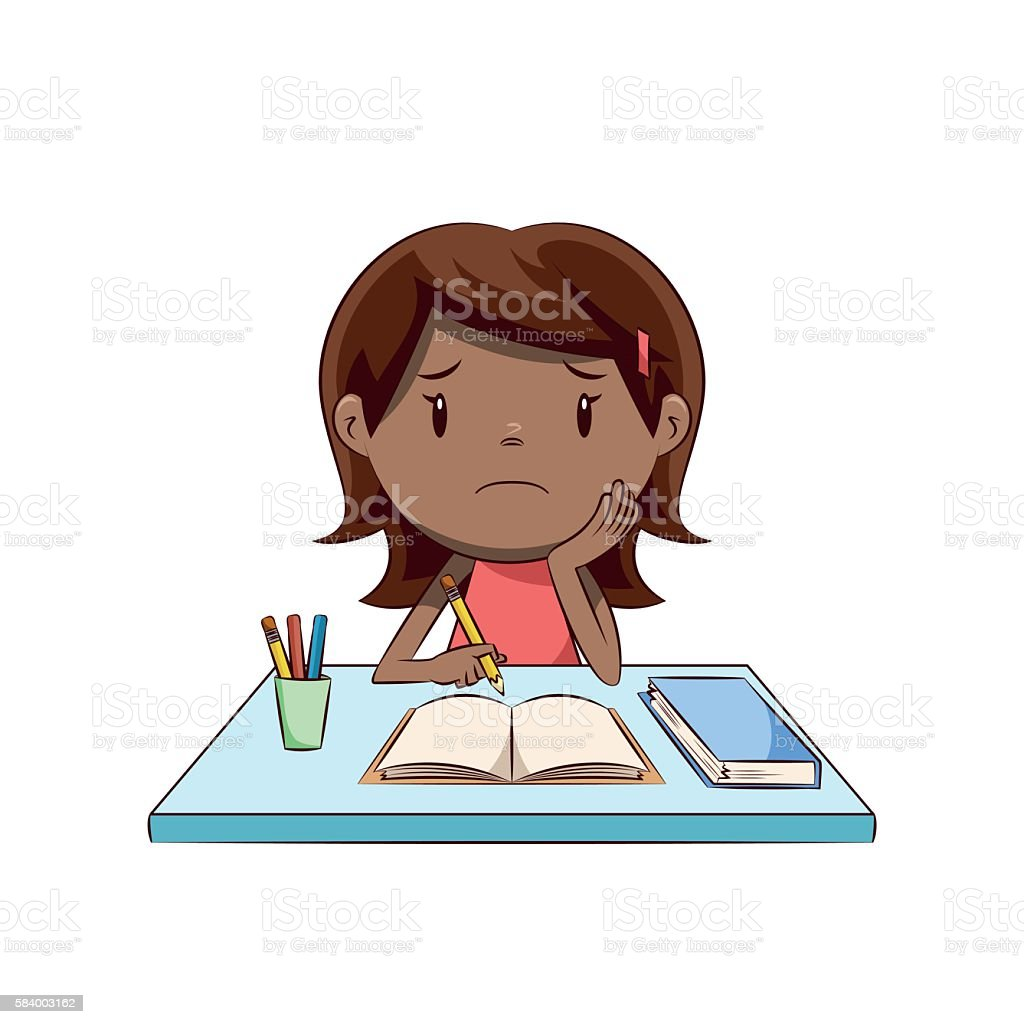 Sad little girl, homework vector art illustration