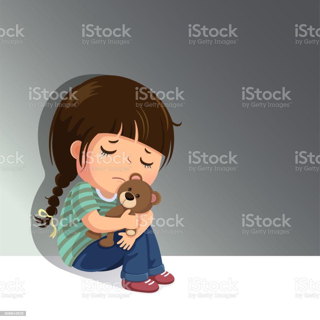 Sad little girl sitting alone with her teddy bear vector art illustration