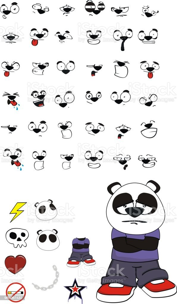 sad little panda bear kid expressions set royalty-free sad little panda bear kid expressions set stock vector art & more images of angel