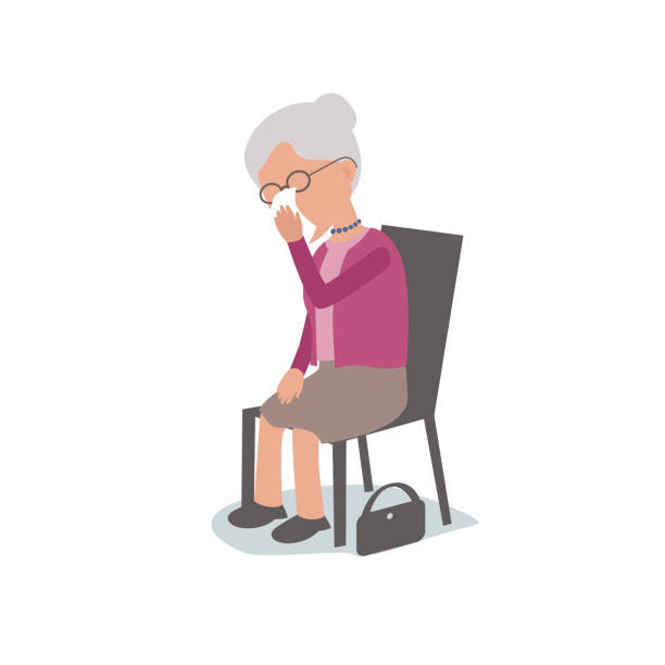 sad lonely elderly woman sitting on chair crying - old man crying stock illustrations, clip art, cartoons, & icons