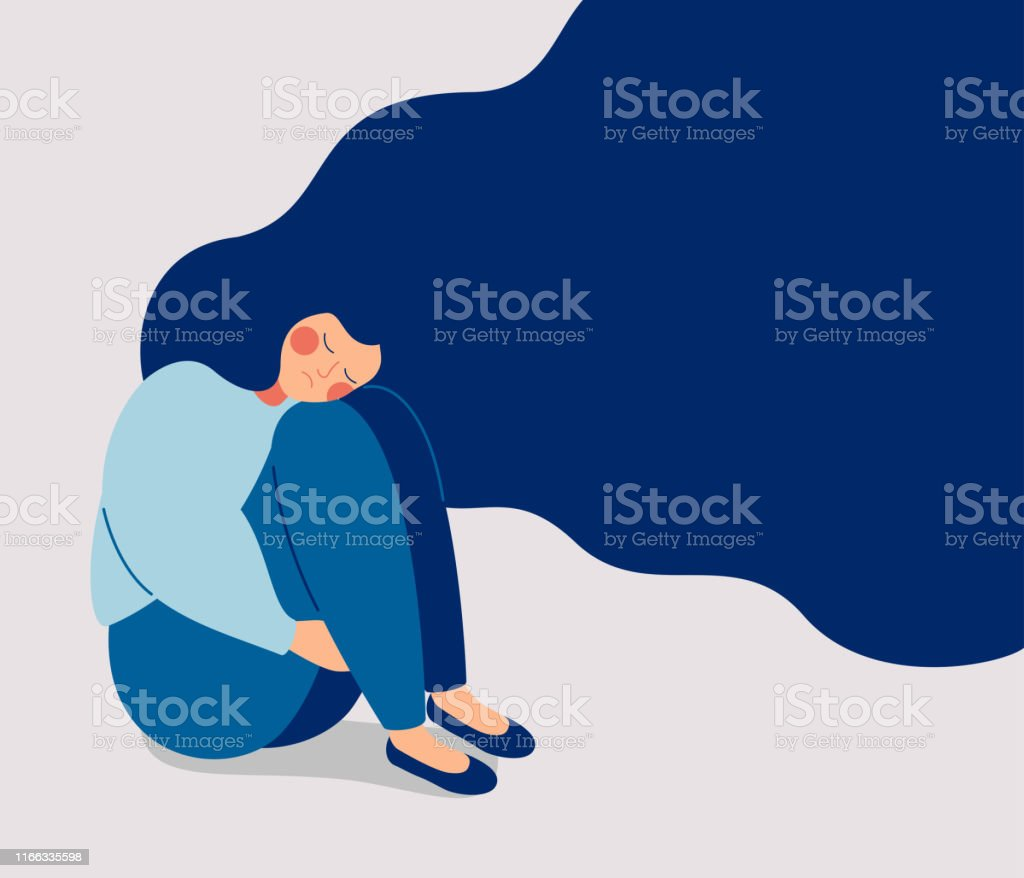Sad lonely Woman in depression with flying hair Sad lonely Woman in depression with flying hair. Young unhappy girl sitting and hugging her knees. Depressed teenager. Colorful vector illustration in flat cartoon style 20-29 Years stock vector