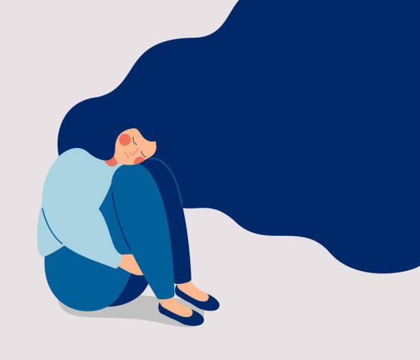 traurige einsame frau in depression mit fliegenden haaren - depression stock-grafiken, -clipart, -cartoons und -symbole
