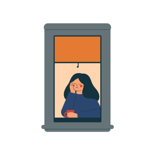 illustrazioni stock, clip art, cartoni animati e icone di tendenza di sad lonely woman sits at home in a quarantined environment. - lockdown
