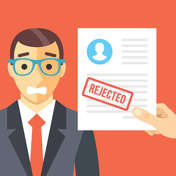 Sad man and rejected application form flat illustration concept Sad man and rejected application form flat illustration concept. Modern flat design concepts for web banners, websites, printed materials, infographics. Red background. Creative vector illustration rejection stock illustrations