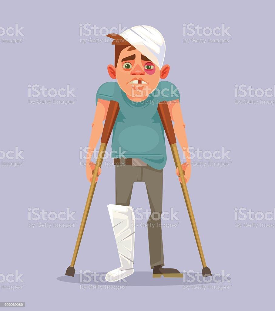 Sad man character with broken leg vector art illustration