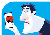 vector illustration of sad man getting thumbs down from smartphone
