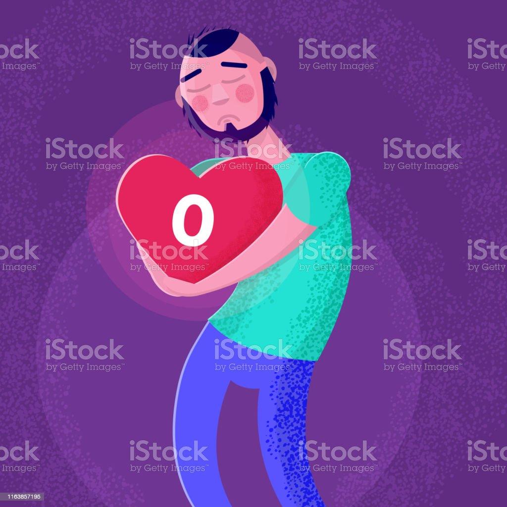 Ilustración De Hombre Triste Sosteniendo El Corazón Sin