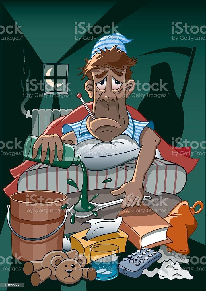 Homme triste sur le lit avec la grippe verser le sirop Attraper - Illustration vectorielle