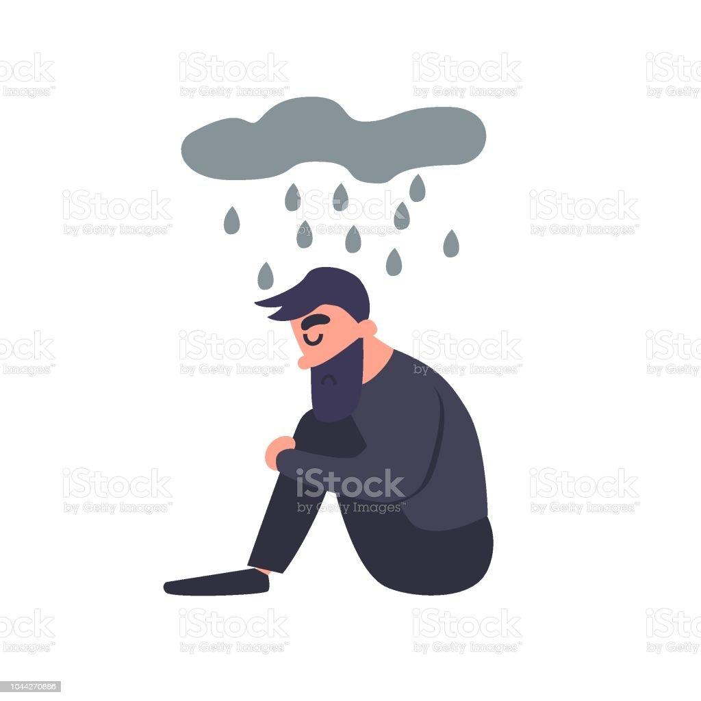 Triste homem senta-se na chuva. Tristeza triste deprimido jovem solitário pensa sobre o mal. Cara infeliz. Transtorno mental. - ilustração de arte em vetor