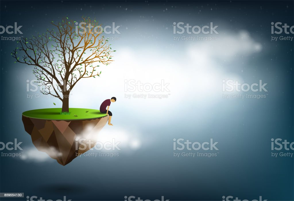 Homme Triste Assis Sous Un Arbre Est Une Image Conceptuelle