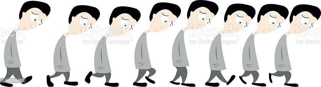 Sad Man Walking vector art illustration