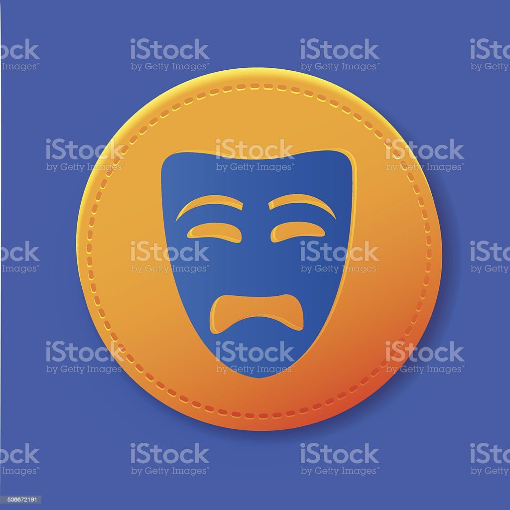 Sad mask symbol on button,vector royalty-free sad mask symbol on buttonvector stock vector art & more images of actor