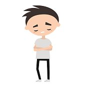 Sad offended boy cartoon illustration,