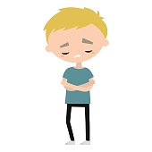 Sad offended boy cartoon illustration