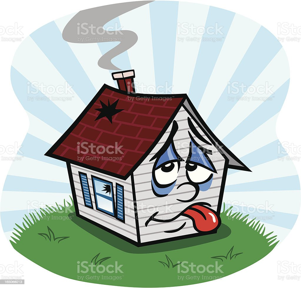 Sad Old House vector art illustration
