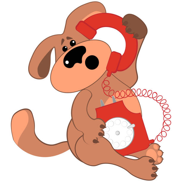 Bекторная иллюстрация Sad or puzzled dog talking on a rare red phone