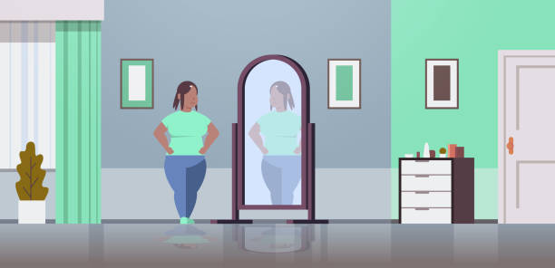 illustrazioni stock, clip art, cartoni animati e icone di tendenza di sad overweight woman looking at herself reflection in mirror african american girl over size obesity concept modern home living room interior flat full length horizontal - woman mirror