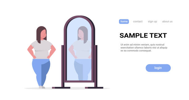 ilustrações de stock, clip art, desenhos animados e ícones de sad overweight woman looking at herself reflection in mirror obese girl over size obesity concept flat full length horizontal copy space white background - criança perdida