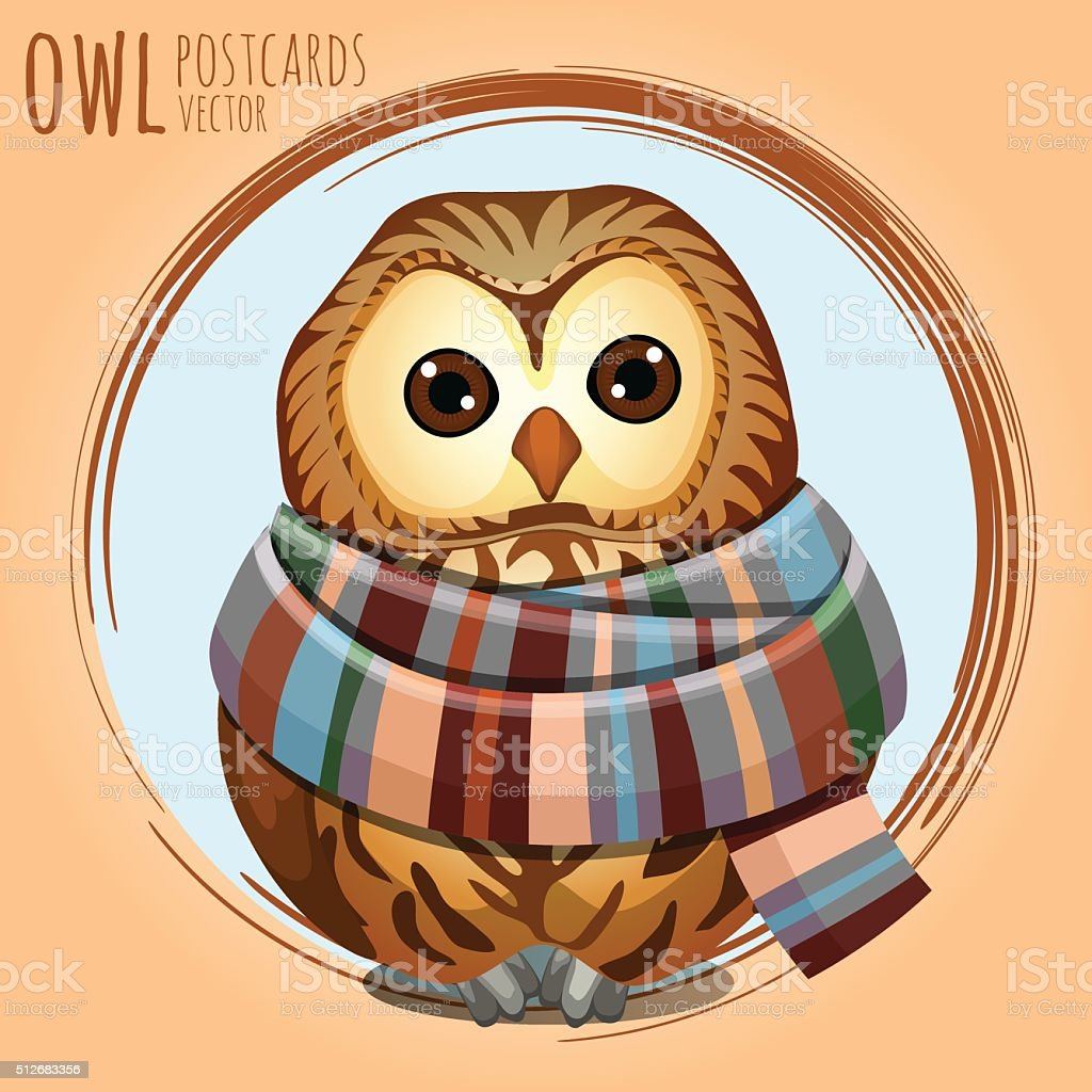 Sad owl in a warm scarf, vector cartoon series vector art illustration