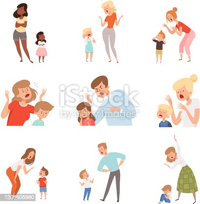 Sad parents. Angry dad punish son scared kids expression reaction crying childrens vector pictures. Illustration parent and kid, child discipline, problem conflict