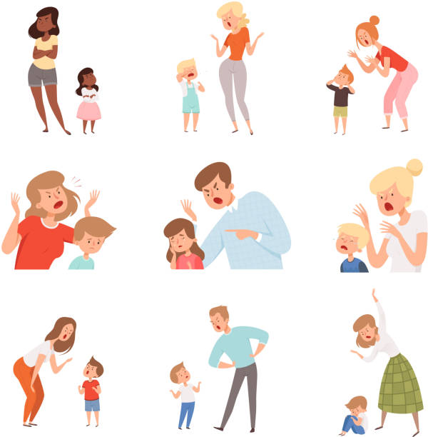 Sad parents. Angry dad punish son scared kids expression reaction crying childrens vector pictures Sad parents. Angry dad punish son scared kids expression reaction crying childrens vector pictures. Illustration parent and kid, child discipline, problem conflict arguing stock illustrations