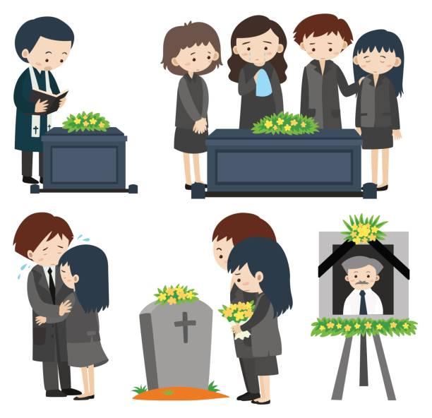 stockillustraties, clipart, cartoons en iconen met droevige mensen bij de begrafenis - funeral crying