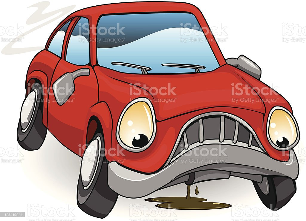 A sad personified red cartoon car - Royalty-free Assistance stock vector