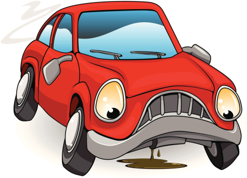 A Sad Personified Red Cartoon Car Stock Illustration - Download Image Now