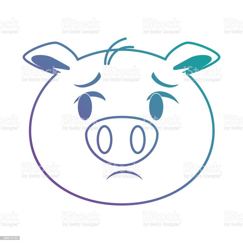sad pig emoji kawaii vector art illustration