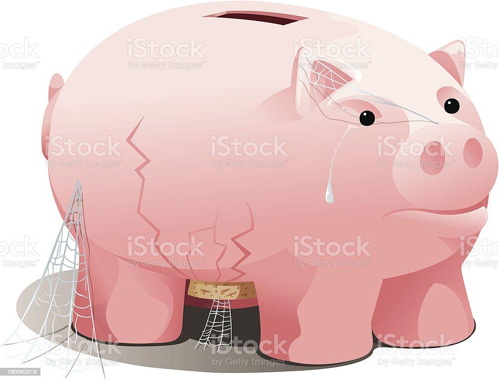 Sad Piggy Bank vector art illustration