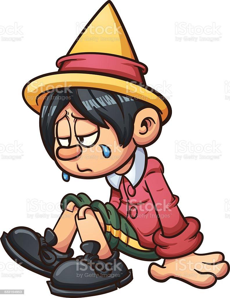 Sad Pinocchio vector art illustration
