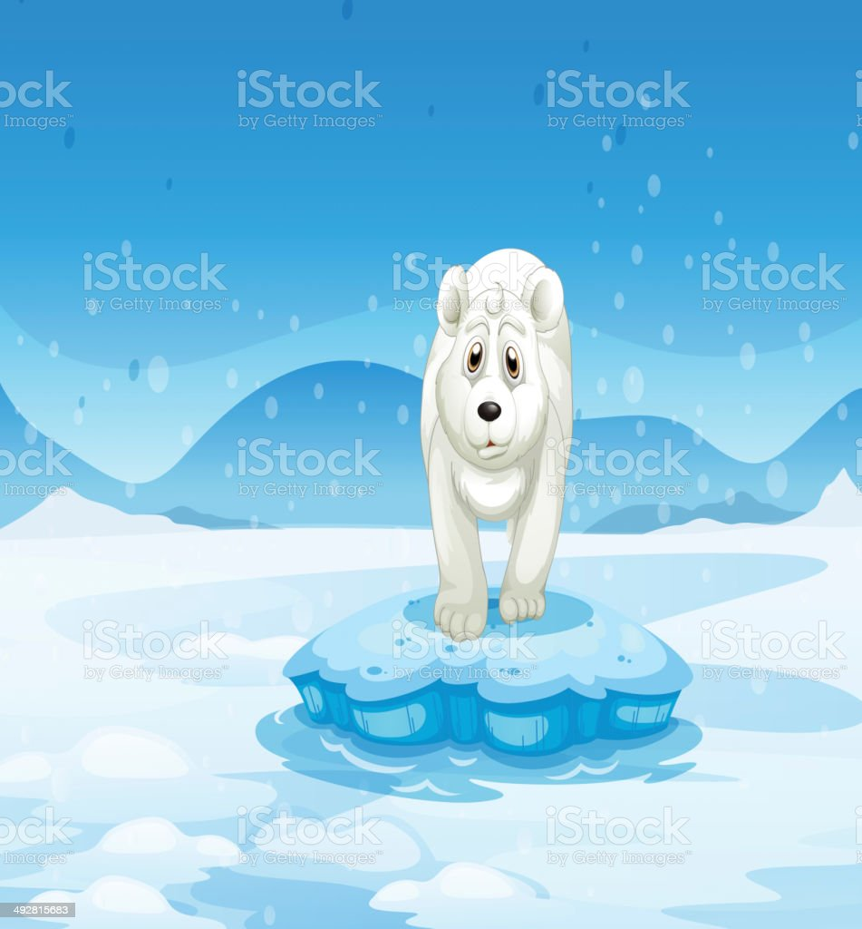 sad polar bear standing above the iceberg royalty-free stock vector art