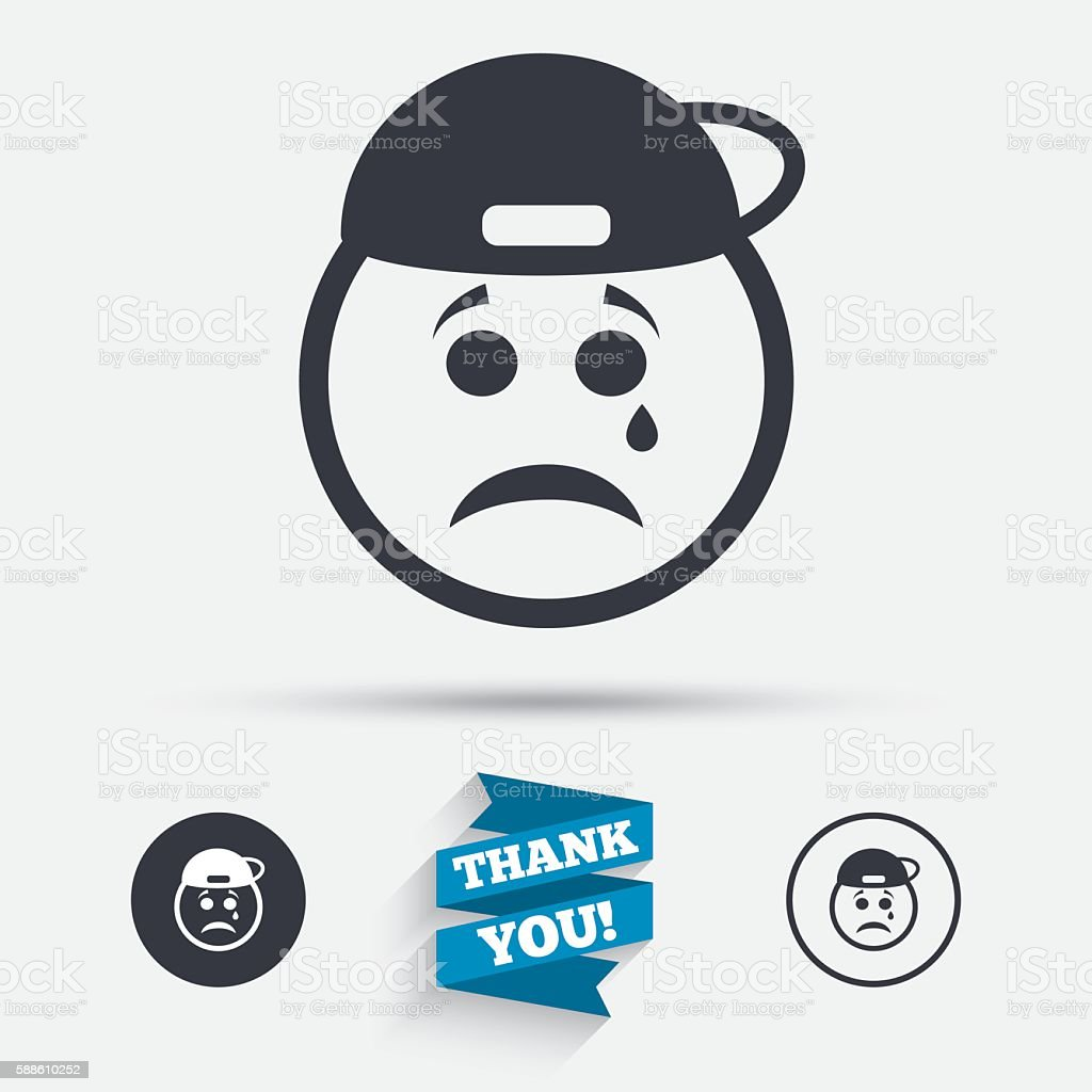 Sad Rapper Face With Tear Icon Crying Symbol Stock Vector Art More