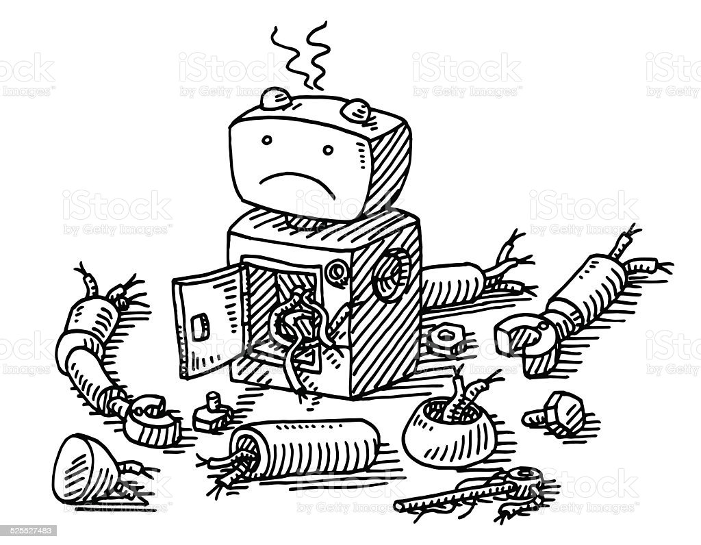 Sad Robot Demolition Drawing vector art illustration
