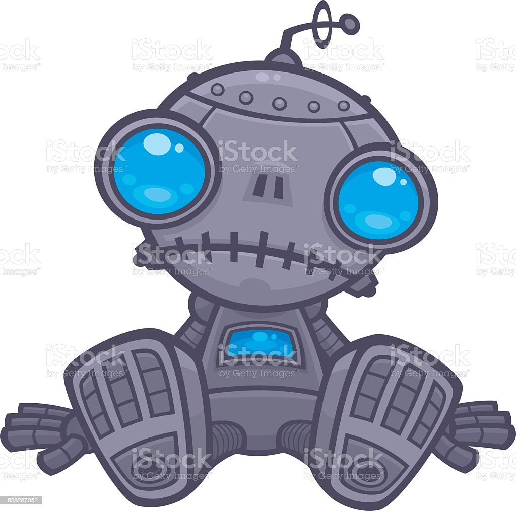 Sad Robot vector art illustration
