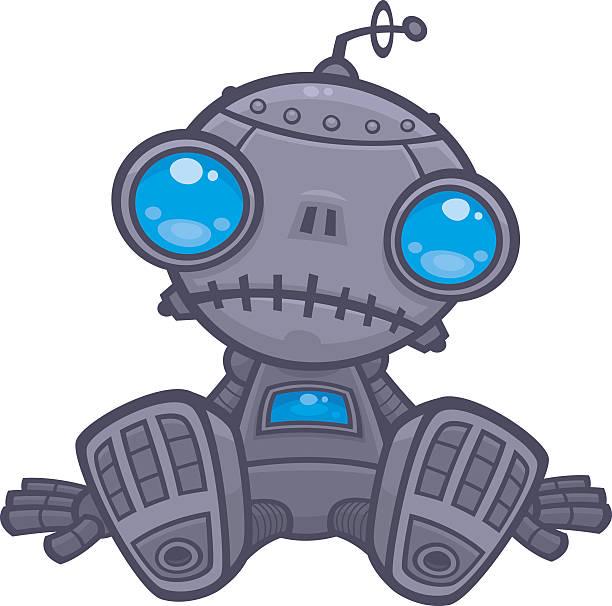 Sad Robot vector art illustration