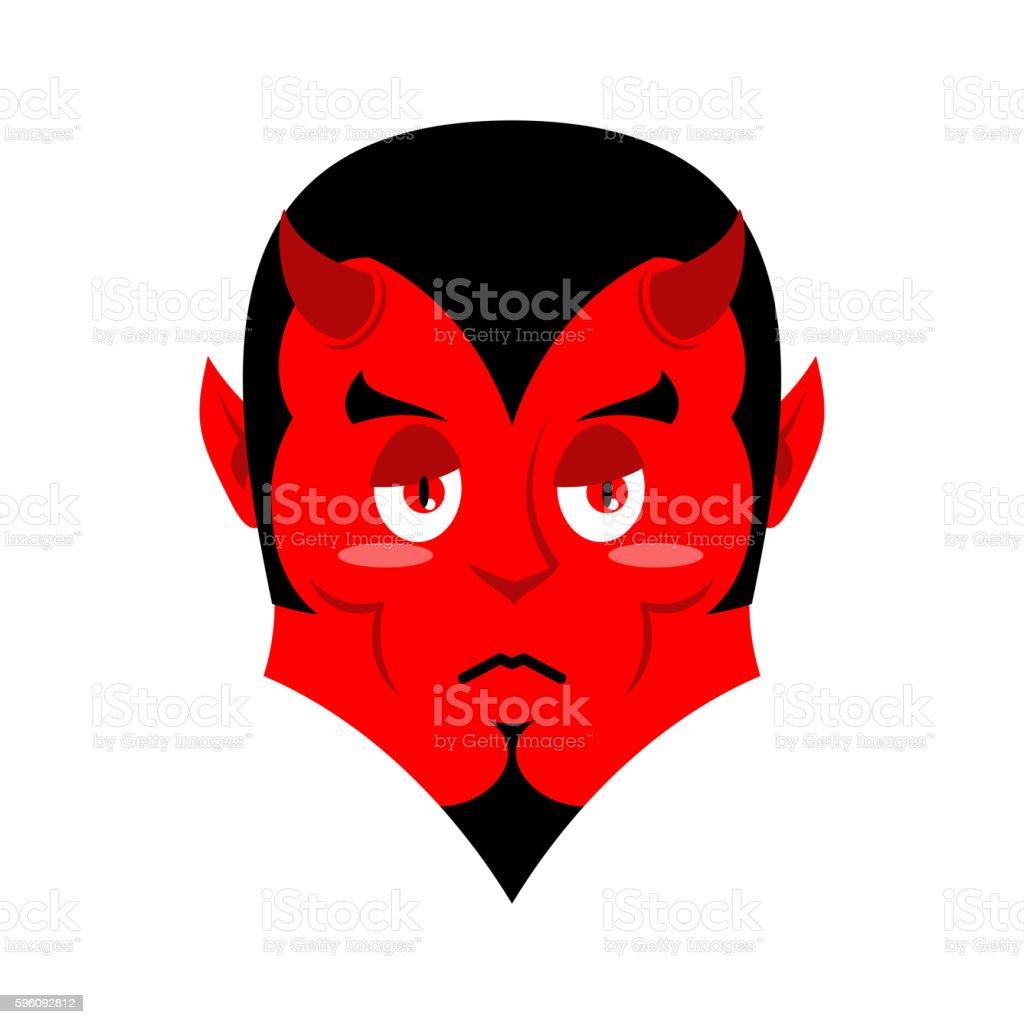 Sad Satan. Sorrowful red devil. Pessimistic demon. Pitiful face. royalty-free sad satan sorrowful red devil pessimistic demon pitiful face stock vector art & more images of anger