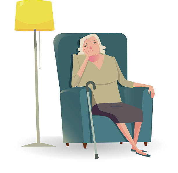 sad senior woman with cane sitting on a sofa. - old man crying stock illustrations, clip art, cartoons, & icons