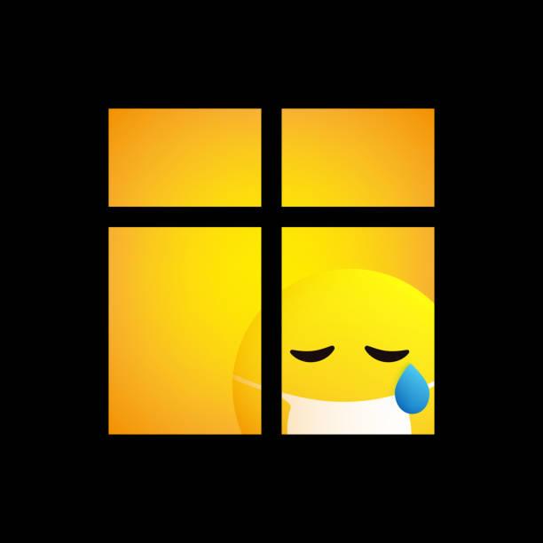 stockillustraties, clipart, cartoons en iconen met de droevige zieke emoticon kijkt door het venster - tears corona
