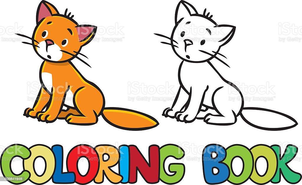 Ilustración de Triste Sesión Cat Libro Para Colorear y más banco de ...