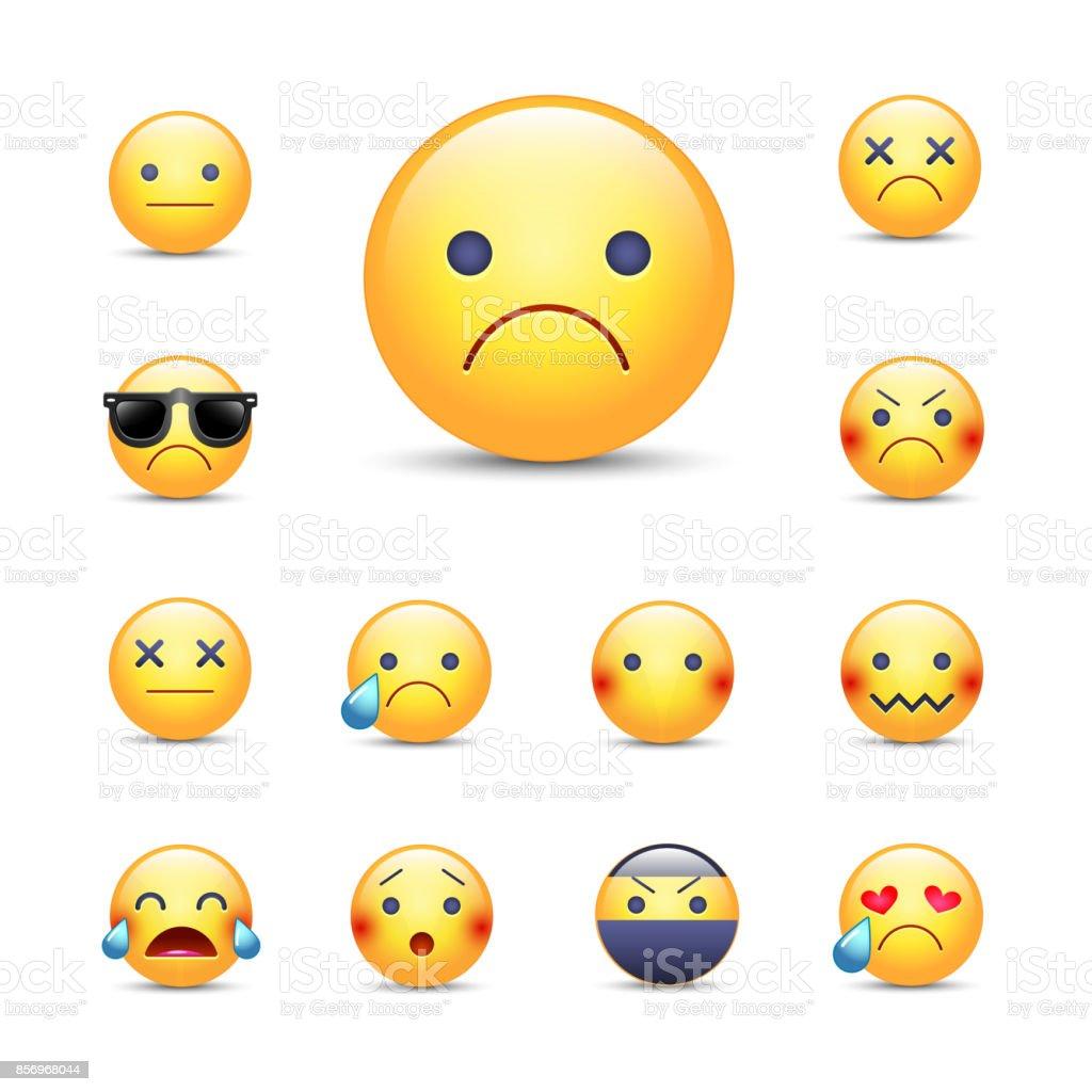 Dessin Anime Triste Desole Vecteur Emoji Visage Ensemble